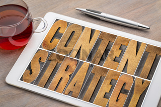 content strategy concept on digital tablet