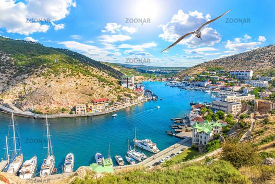 Beautuful Balaklava Bay view in Sevastopol, Crimea
