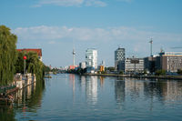 Cityscape of Berlin city / view over river Spree on Tv Tower from Oberbaum Bridge in Kreuzberg