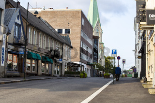 KRISTIANSAND, NORWAY - september 2018 quiet street Kristiansand, with historic old buildings .