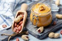 Jar with creamy peanut butter.