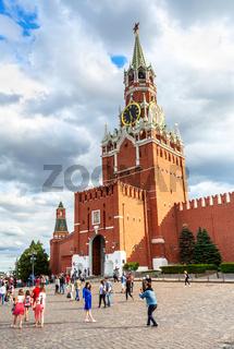 Spasskaya tower of the Moscow Kremlin in summer