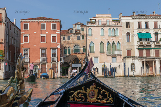 Panoramic view of Venice grand canal with historical buildings from gondolas