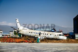 Scrapped airplane at Kathmandu airport in Nepal