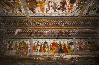 Mythological paintings on the ceiling of Raj Mahal. Orchha Palace Fort Complex. Orchha. Madhya Pradesh