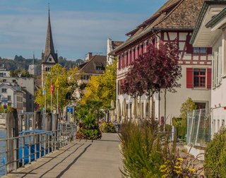 Schiffslände, Güterhof und Münster Allerheiligen Schaffhausen, Schweiz