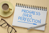 progress over perfection inspirational handwriting