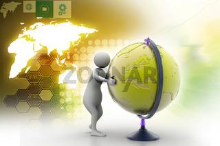 3d man analysing the globe
