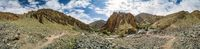 Panorama of beautiful Markha Valley in India in old Buddhist kingdom of Ladakh.