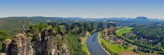 Blick von der Bastei zur Elbe, Sächsische Schweiz, Deutschland