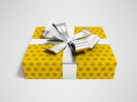 Gift in yellow paper with bow 3d rendering on gray background with shadow