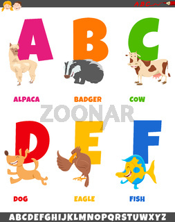 cartoon alphabet collection with animal characters