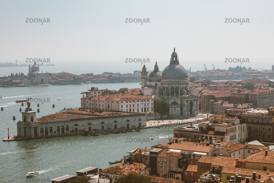 Panoramic view of Venice city and Basilica di Santa Maria della Salute