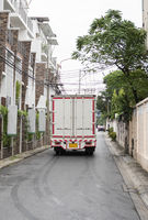 White truck for delivery of goods and products. Transportation and Logistics.