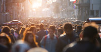 Blurred crowd of unrecognizable at the street