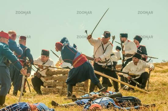 The Battle of Shipka Peak. Shipka battlefield in Russo-Turkish War (1877–1878).