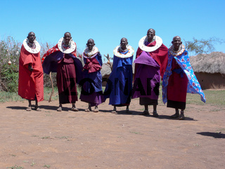 Tanzania Masai tribeswomen in traditional clothing in Olpopongi Cultural Village