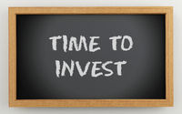 3d chalkboard with time to invest text