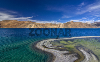 Pangong Tso or Pangong, an endorheic lake, Ladakh, India