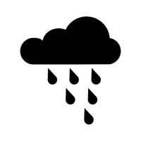 Vector icon of rain or cloud. Weather icon. Black cloud symbol. Simple icon weather. Flat design. EPS 10.