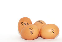 german labeled with easter eggs to color on a white background