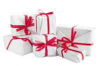 Heap of Christmas gifts isolated
