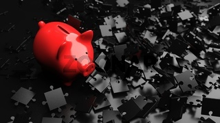 Investment Strategy - Red Piggy Bank With Black Puzzle