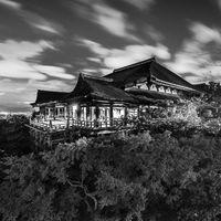 Black and white night photo of Kiyomizu-dera Temple in Kyoto, Japan