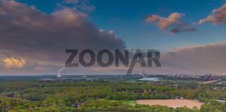 Panorama auf das Ruhrgebiet von der Halde Rheinpreußen aus der Luft