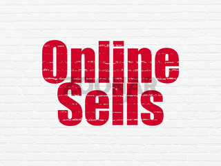 Advertising concept: Online Sells on wall background