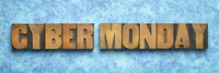 Cyber Monday banner in wood type