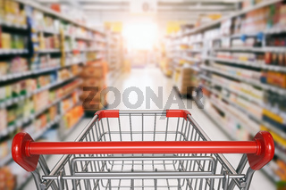 Empty shopping cart in supermarket.
