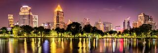 Panoramic view of Bangkok skyline. Night cityscape of Bangkok, Thailand. Panorama