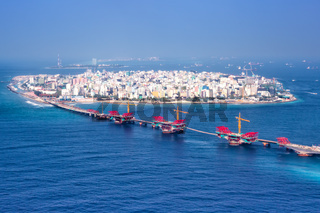 Male Malediven Insel Hauptstadt Meer Panorama Brücke Luftbild