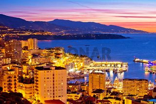 Monte Carlo cityscape colorful evening view from above