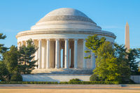 Jefferson memorial with Washington Monument in background