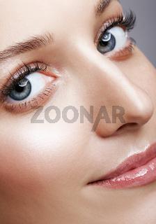 Closeup macro shot of female face and eyes makeup