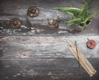 Rustic wooden table, with green plant, burning incense, small healing stones and  meditation bells