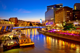 Vienna city modern riverfront evening view