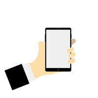 Vector illustration hand holding phone empty screen hold phone