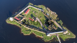 Aerial top view on fortress Oreshek