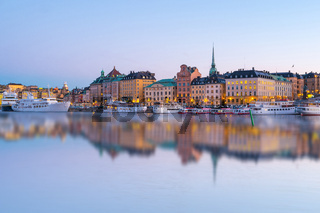 Stockholm skyline with reflection at night in Stockholm city, Sweden