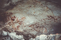 Prehistoric paintings in a cave, Phang Nga Bay, Thailand