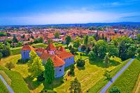 Historic town of Varazdin aerial panoramic view