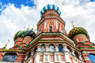 Domes of Saint Basil's (Pokrovsky) Cathedral on Red Square in Moscow, Russia