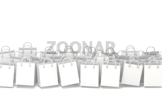 White blank shopping bags. 3D