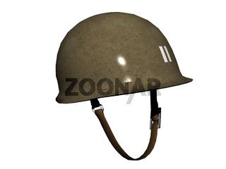 metallischer Militärhelm mit Kinnriemen