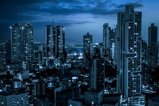 modern city skyline at night - skyscraper   cityscape   -