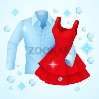 Clean clothes, washed blue shirt and red dress with soap bubbles