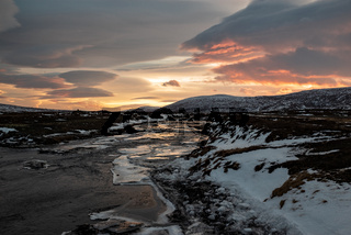 Godafoss river at sunset, Iceland